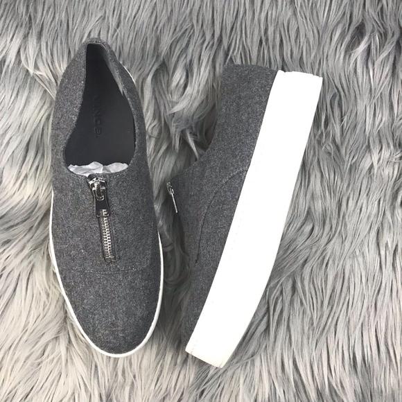 de1cd43ee1b Vince Shoes - Vince Warner Platform Zip Up Gray Flannel Sneaker